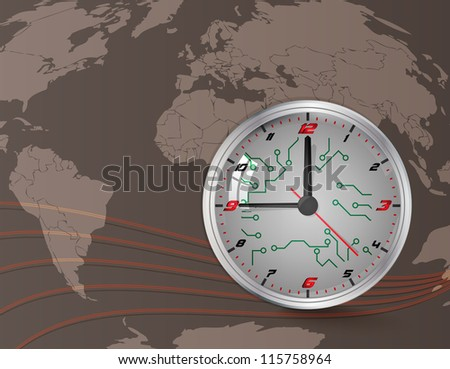 Wall clock and world map - stock vector