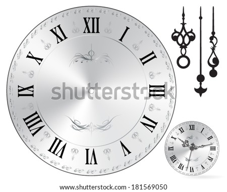 Wall clock face old fashion - roman numbers