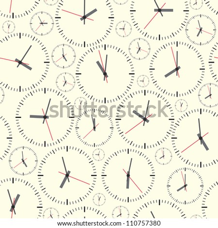 Wall clock. The electronic device. Vector illustration. Seamless.