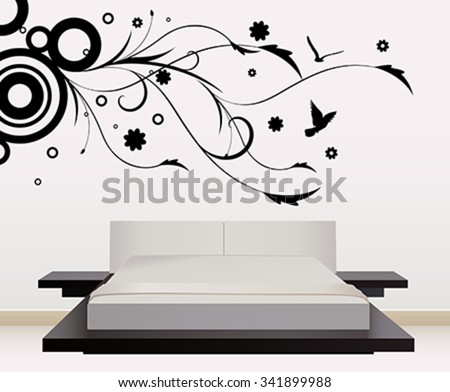 wall decoration with sticker - stock vector