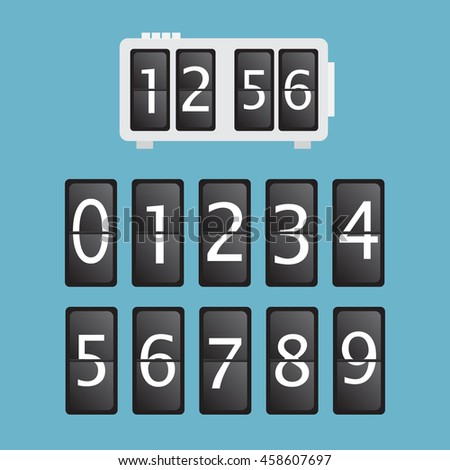 Wall flap counter clock template eps 10