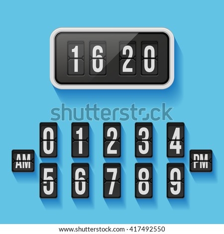 Wall flap counter clock template. Time, display. Vector illustration