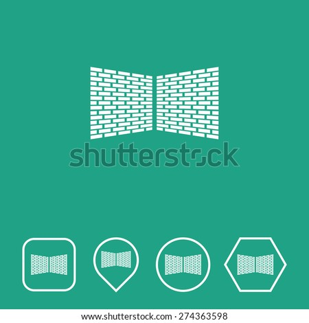 Wall Icon on Flat UI Colors with Different Shapes. Eps-10. - stock vector