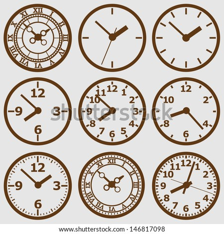 Wall mounted  clock. Image of clock face. The device displays the hours, minutes, seconds. Save your time. Timing is everything. - stock vector