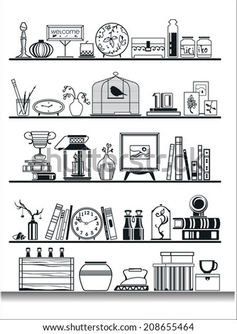 wall shelves silhouette, filled with different items. Vector illustration - stock vector