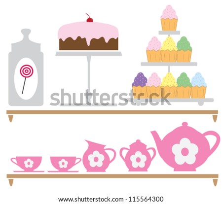 Wall sticker illustration of tea set elements for children - stock vector