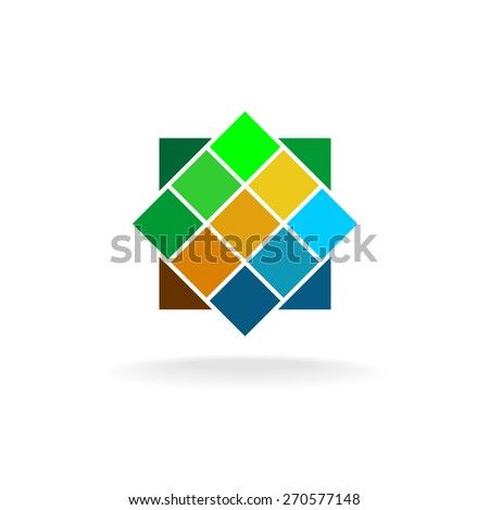 Wall tiles colorful logo - stock vector