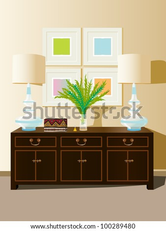 wall unit furniture - stock vector