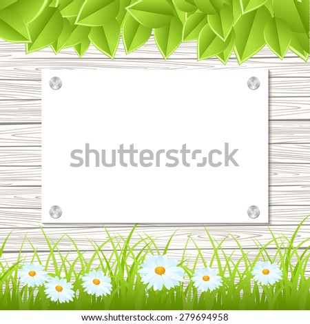 Wall with a piece of paper and green grass and leaves. Vector illustration. - stock vector