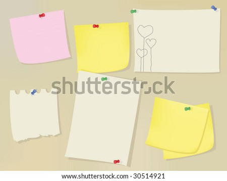 Wall Blank Memo Notes Pictures Stock Vector 30514921 - Shutterstock