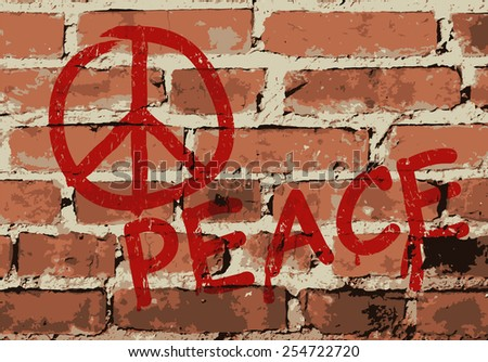 Wall with peace sign, vector illustration - stock vector