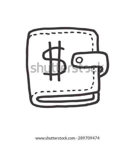 wallet doodle drawing - stock vector