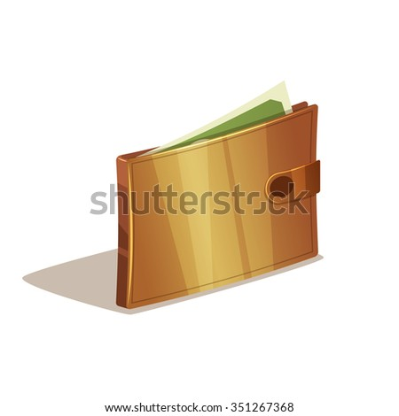 Wallet full of dollars and green money. Isolated on white background. - stock vector