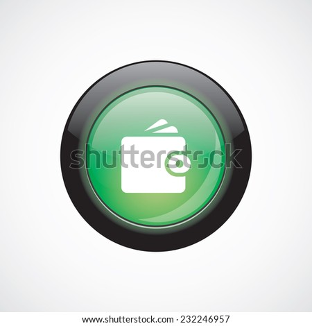 Wallet glass sign icon green shiny button. ui website button