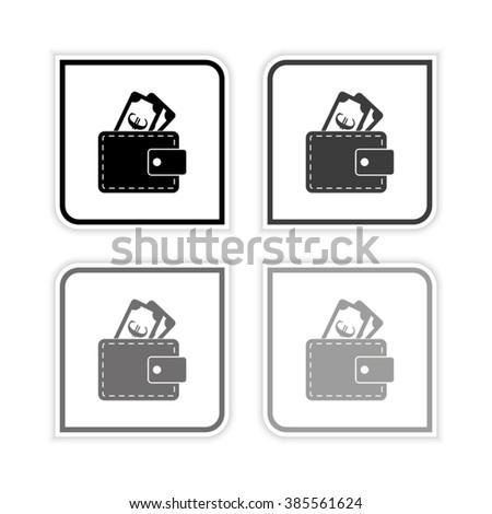 Wallet -  grayscale vector icon - stock vector