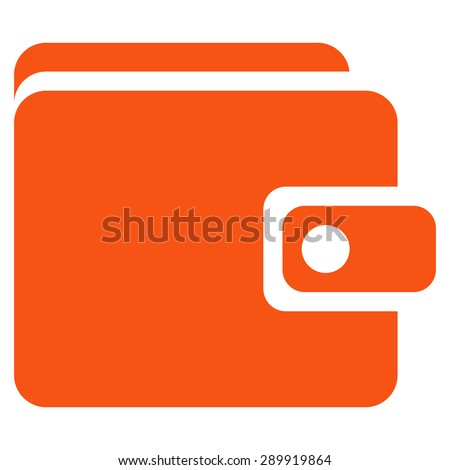 Wallet icon from Business Bicolor Set. This flat vector symbol uses orange color, rounded angles, and isolated on a white background. - stock vector