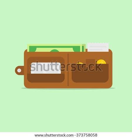 Wallet open in flat style. Wallet with money. Wallet isolated.  Wallet full of money. Wallet icon. Classic open wallet. Wallet vector.  - stock vector