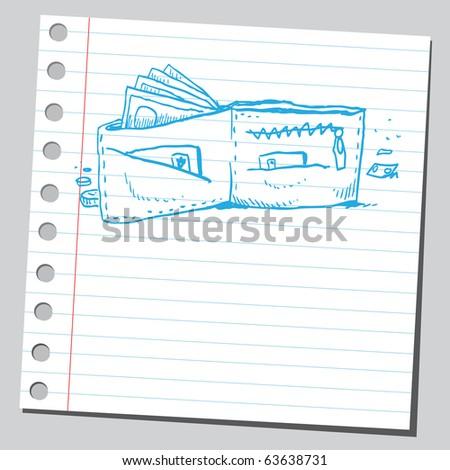 Wallet sketch - stock vector