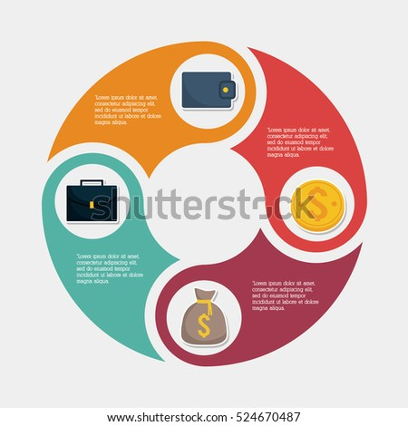 Wallet suitcase bag and coin. Infographic Money financial item commerce market and payment theme. Silhouette design. Vector illustration