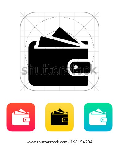 Wallet with cards icon on white background. Vector illustration. - stock vector