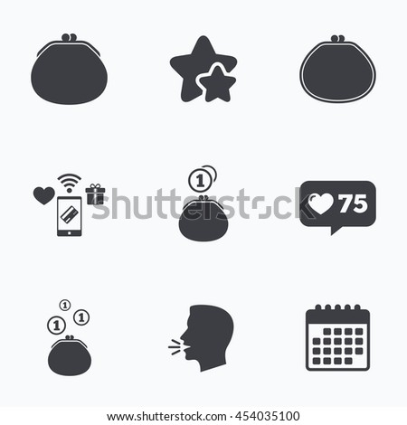 Wallet with coins icons. Cash bag signs. Retro wealth symbol. Flat talking head, calendar icons. Stars, like counter icons. Vector - stock vector