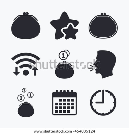 Wallet with coins icons. Cash bag signs. Retro wealth symbol. Wifi internet, favorite stars, calendar and clock. Talking head. Vector - stock vector
