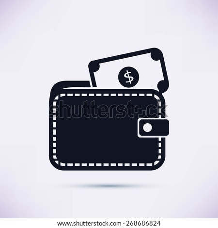 Wallet with dollars icon - stock vector