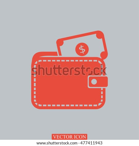 Wallet with dollars icon, vector best flat icon, EPS