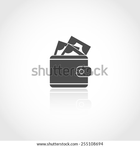 Wallet with money vector icon. Financial earning concept. - stock vector