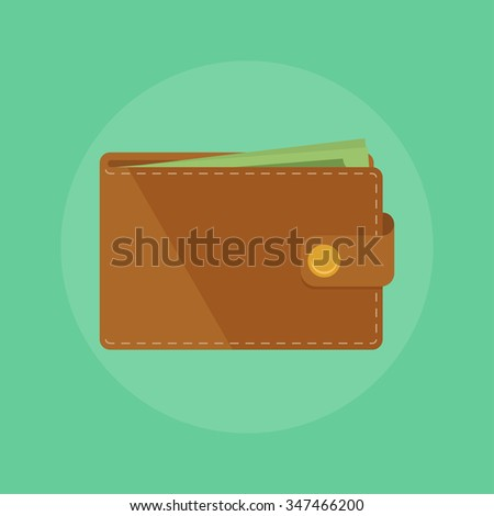 Wallet with money vector illustration. Wallet icon concept. Wallet isolated on colored background. Wallet vector. Wallet money flat illustration. Brown flat wallet. - stock vector