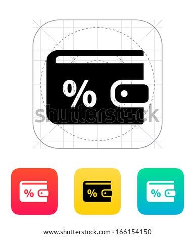 Wallet with percentage icon on white background. Vector illustration. - stock vector