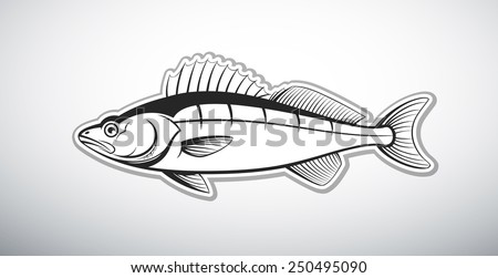walleye fish outline vector illustration - stock vector