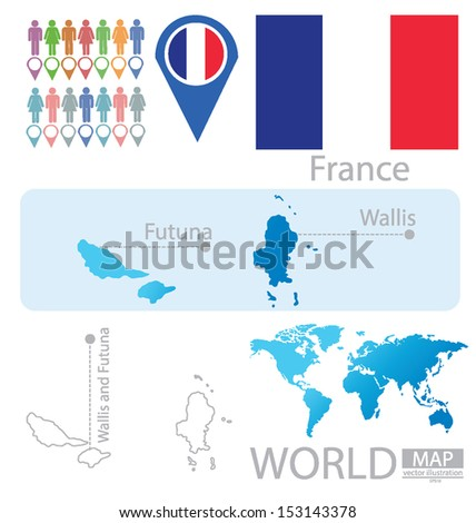 Wallis and Futuna. France. flag. World Map. vector Illustration.