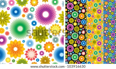 Wallpaper background with styled flowers. Can be easily colored and used in your design. - stock vector