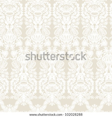 Wallpaper, baroque pattern  Seamless vintage background  Vector background for textile design. - stock vector
