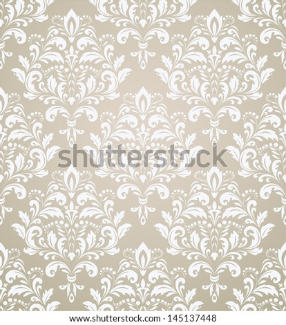 Wallpaper, damask pattern, baroque. Seamless vector background. - stock vector