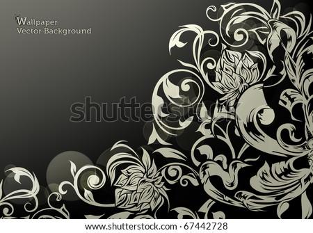 Wallpaper decor on Black, eps10 - stock vector