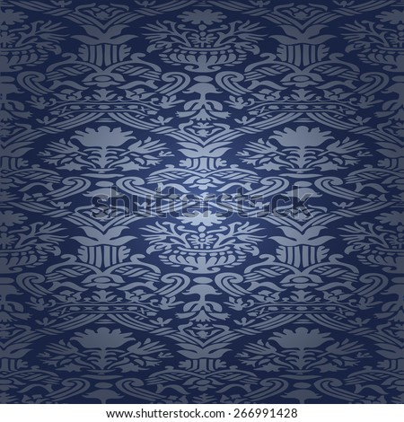 Wallpaper decoration floral curl damask flower silk leaf vector luxury summer graphic element card fashion abstract modern illustration ornamental decorative retro invitation backdrop texture old blue