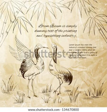 Wallpaper heron and bamboo. Vector illustration. - stock vector