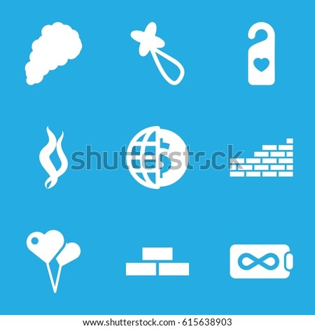Wallpaper Icons Set Of 9 Filled Such As Brick Wall Hair