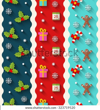 Wallpaper Illustration with Traditional Colorful Elements for Christmas and Happy New Year - Vector - stock vector