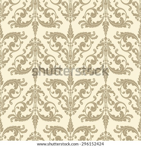Wallpaper in baroque style. Classic beige ornament. Damask pattern.Seamless vector background.