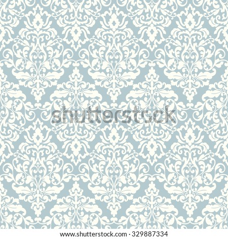 Wallpaper in baroque style. Classic ornament. Damask pattern.Seamless vector background. - stock vector