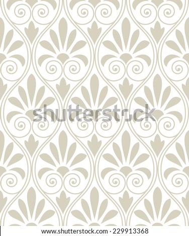 Wallpaper in the style of Baroque. A seamless vector background. Beige and white texture. Floral ornament. - stock vector