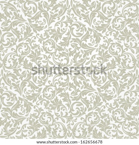 Wallpaper in the style of Baroque. A seamless vector background. Floral pattern of leaves. - stock vector