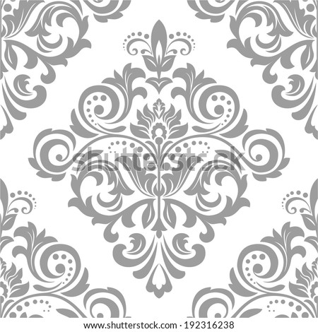 Wallpaper in the style of Baroque. A seamless vector background. Gray and white texture. - stock vector