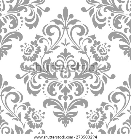 Wallpaper in the style of Baroque, damask. A seamless vector background. Gray and white ornament. - stock vector