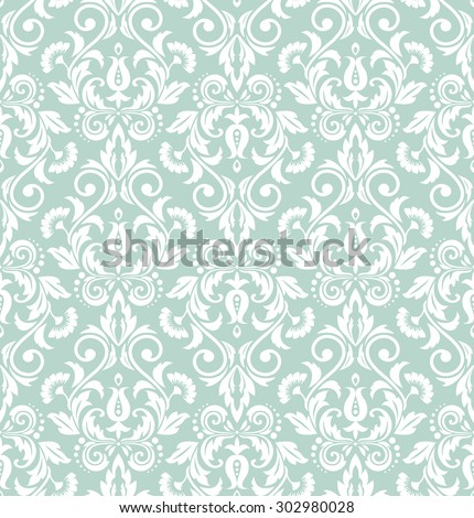 Wallpaper in the style of Baroque. Seamless vector background. Damask floral pattern.Blue and white ornament. - stock vector