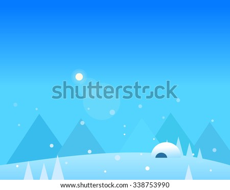 Wallpaper Landscape of Winter Mountains, Igloo and Moon, Beautiful Vector Illustration