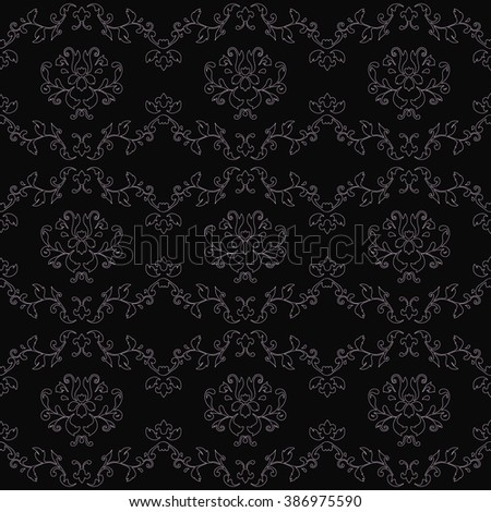 Wallpaper monochrome pattern in the style of Baroque. A seamless vector background. Gray and white texture. - stock vector